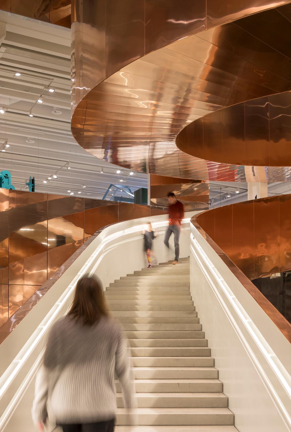 The stairway is built from 160 tons of steel and clad with 10 tons of copper / Adam Mørk