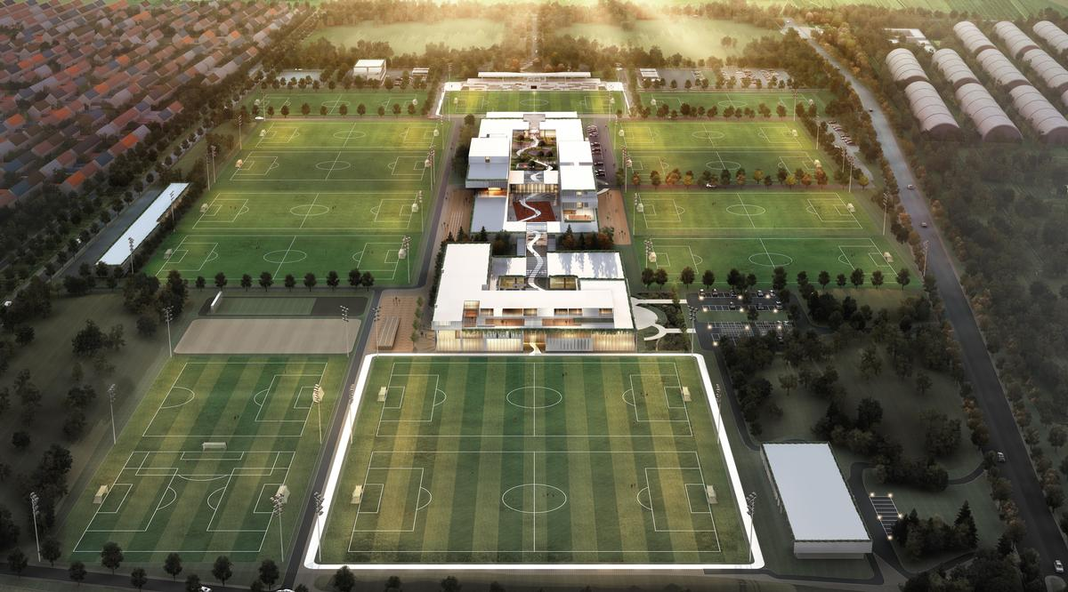 The facility will have 12 FIFA standard football fields, a training hub, a medical centre, a gym and a hotel and apartments / Populous