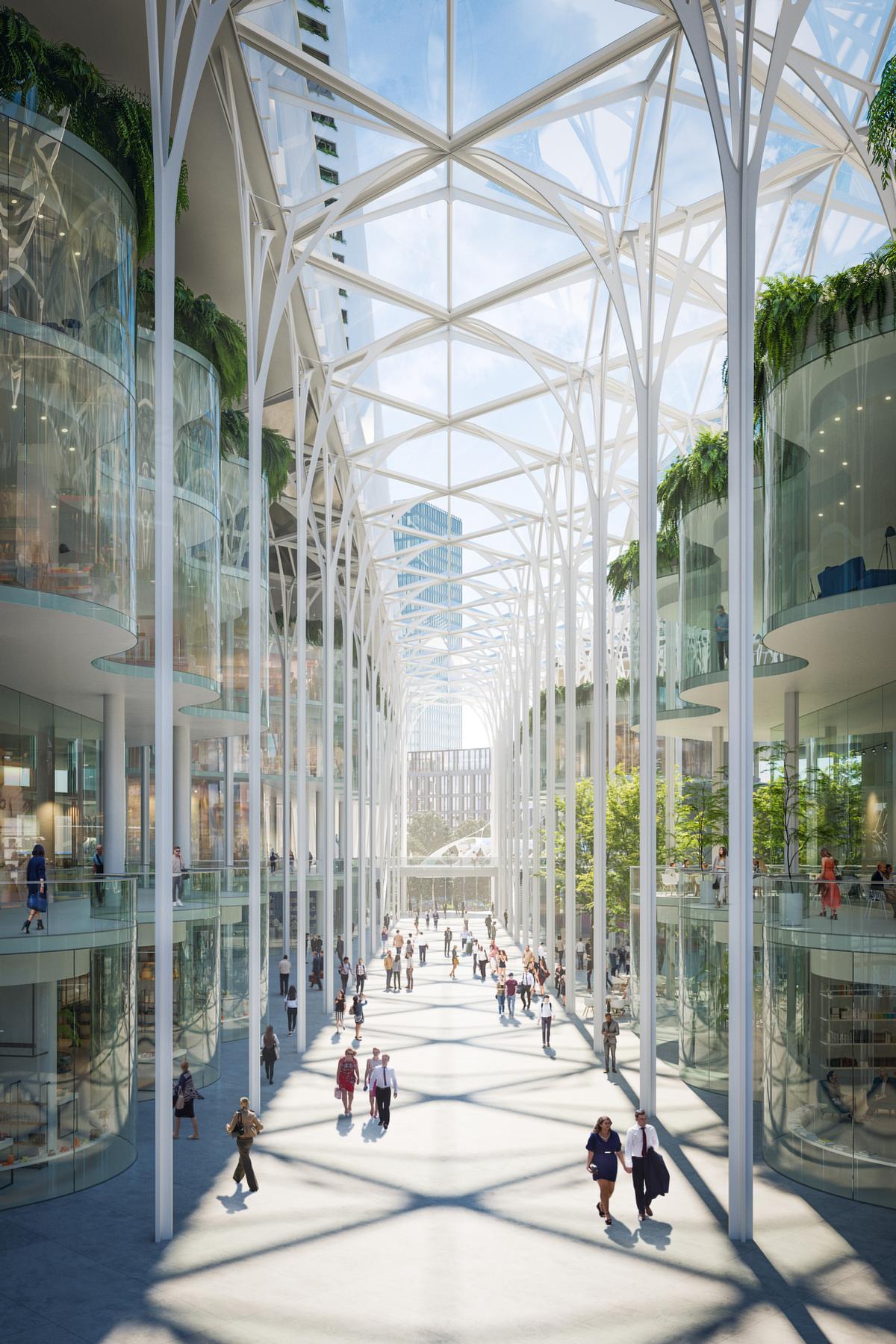 A winter garden at the heart of the scheme will form an 'urban forest' / Uniform