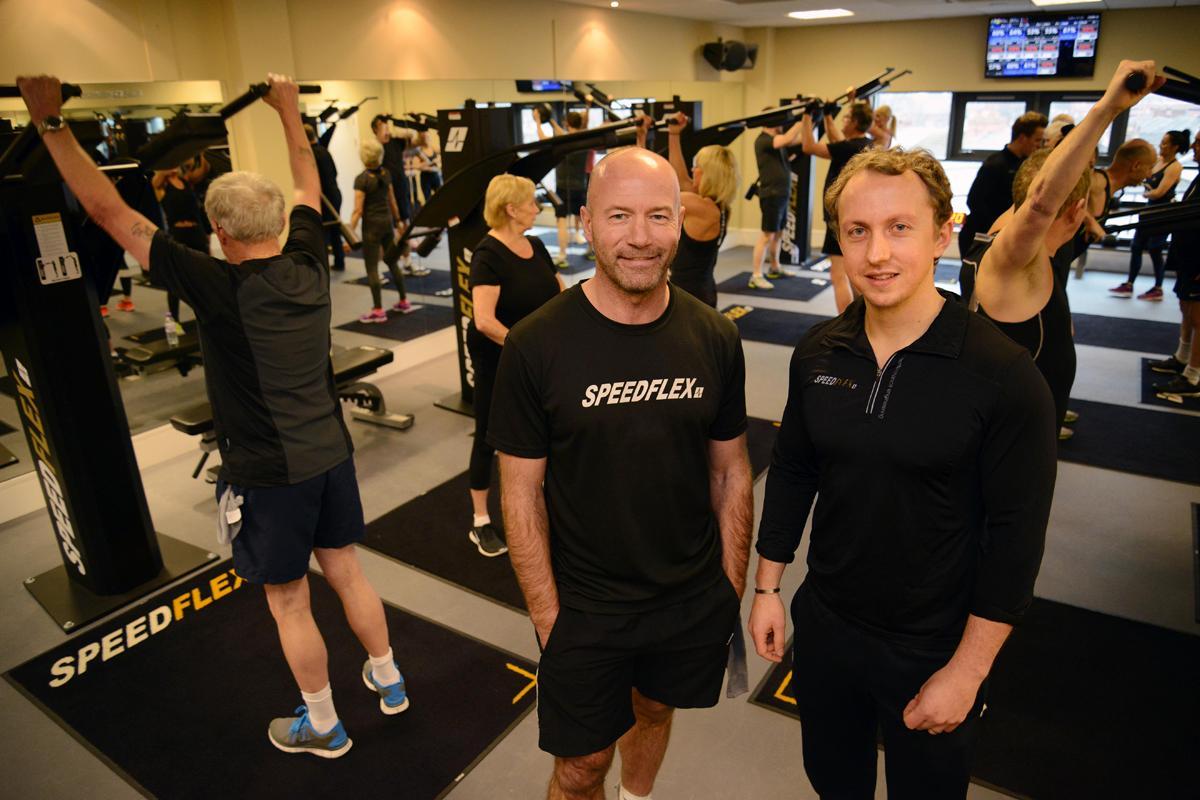 Alan Shearer and trainer Matt Bolam at the Speedflex launch