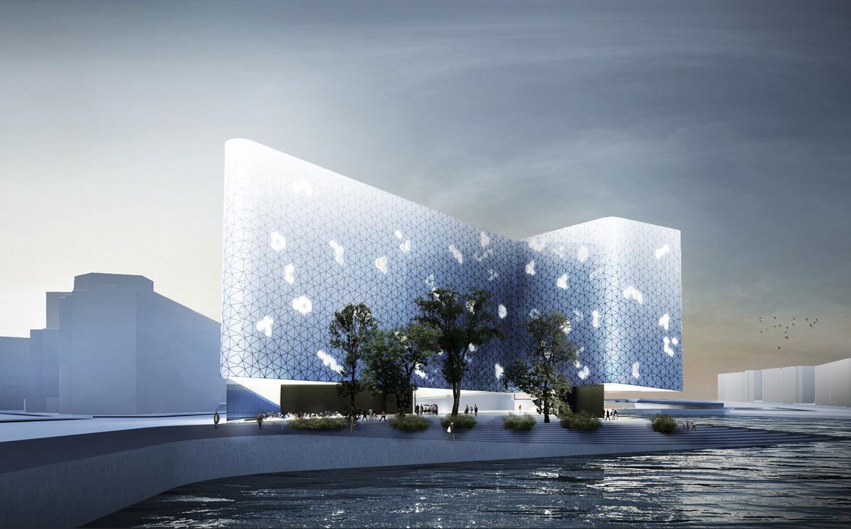 Snøhetta's design features a smooth glass skin that wraps around the building / Snøhetta