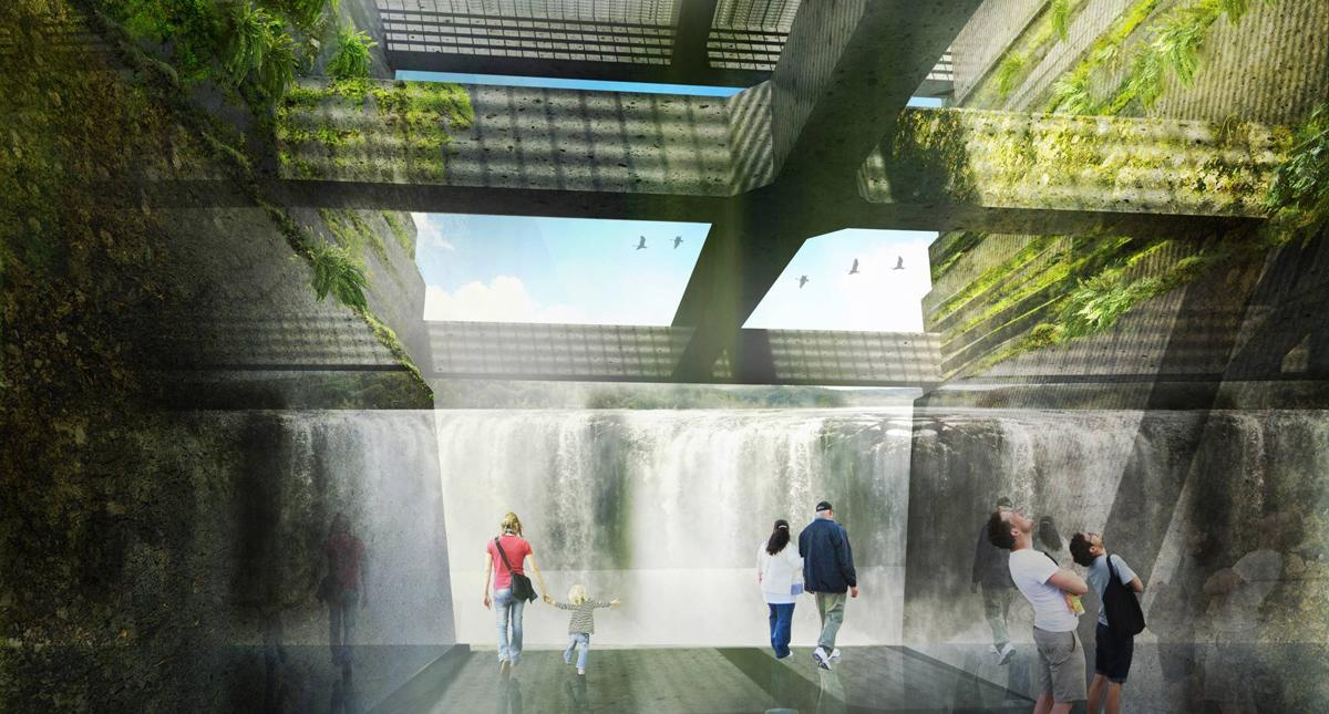 The design team said its approach was to highlight the falls and the complex material layers of the site / Snøhetta