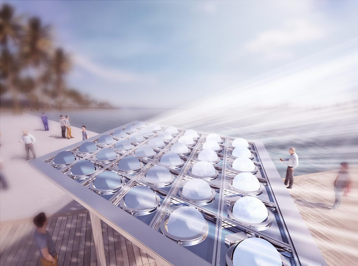 The reflected rays are then concentrated on a photovoltaic receiver, located a safe distance away, that generates electric power / Carlo Ratti Associati