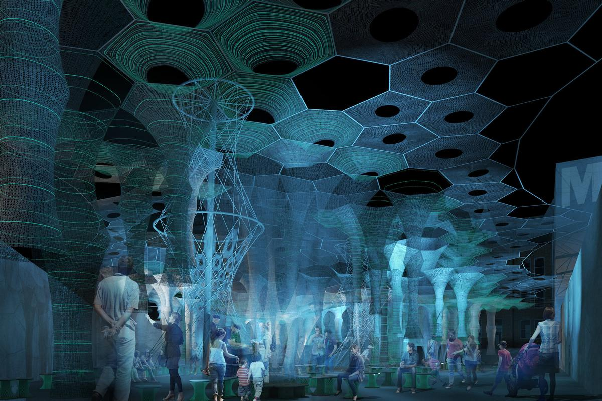 Lumen will bathe visitors in a responsive photo-luminescent glow at night, and emit grounds of cooling mist during the hot days / Jenny Sabin Studio
