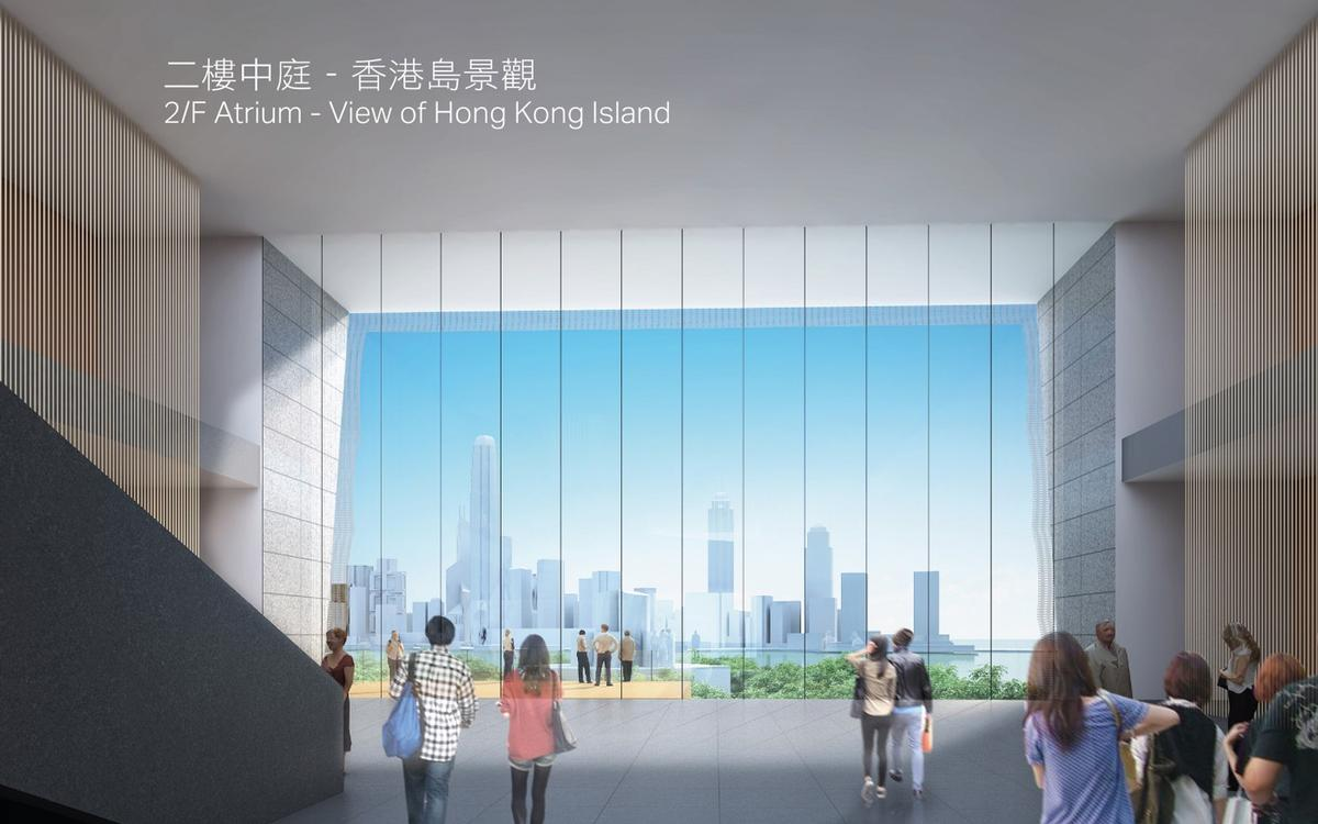 If given the green light, Hong Kong Palace Museum will be located adjacent to the Art Park, with a view towards the city / WKCDA