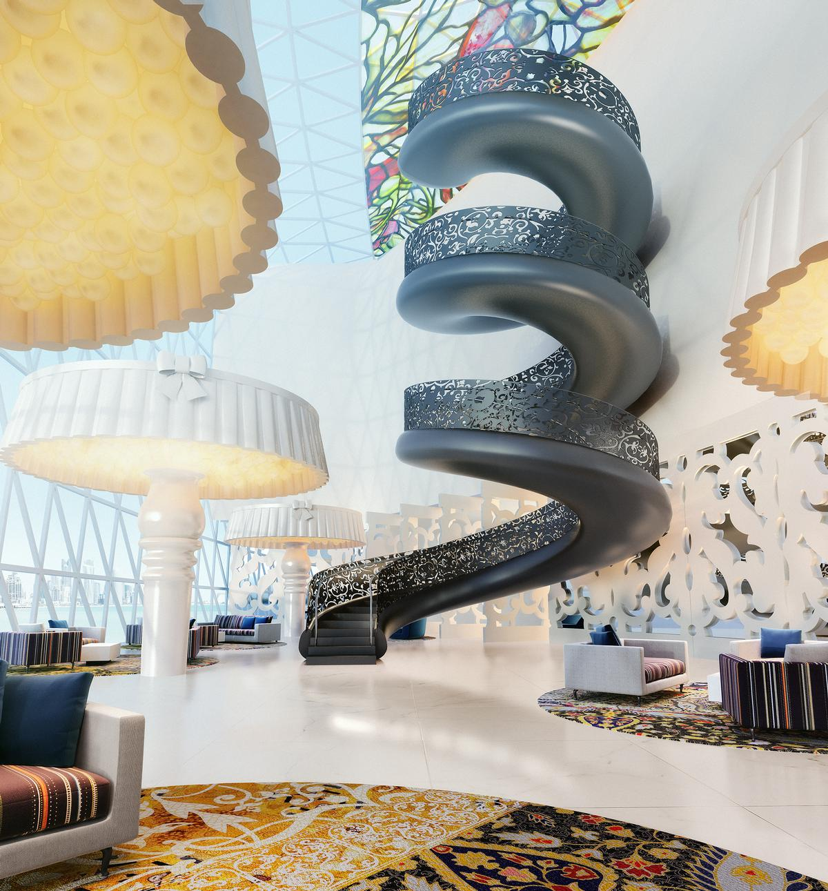 A dramatic spiral staircase is the centrepiece of the hotel / Marcel Wanders