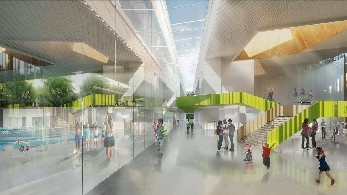 Facilities inside will include a public plaza serviced by the proposed ground level café / City of Laval/v2com
