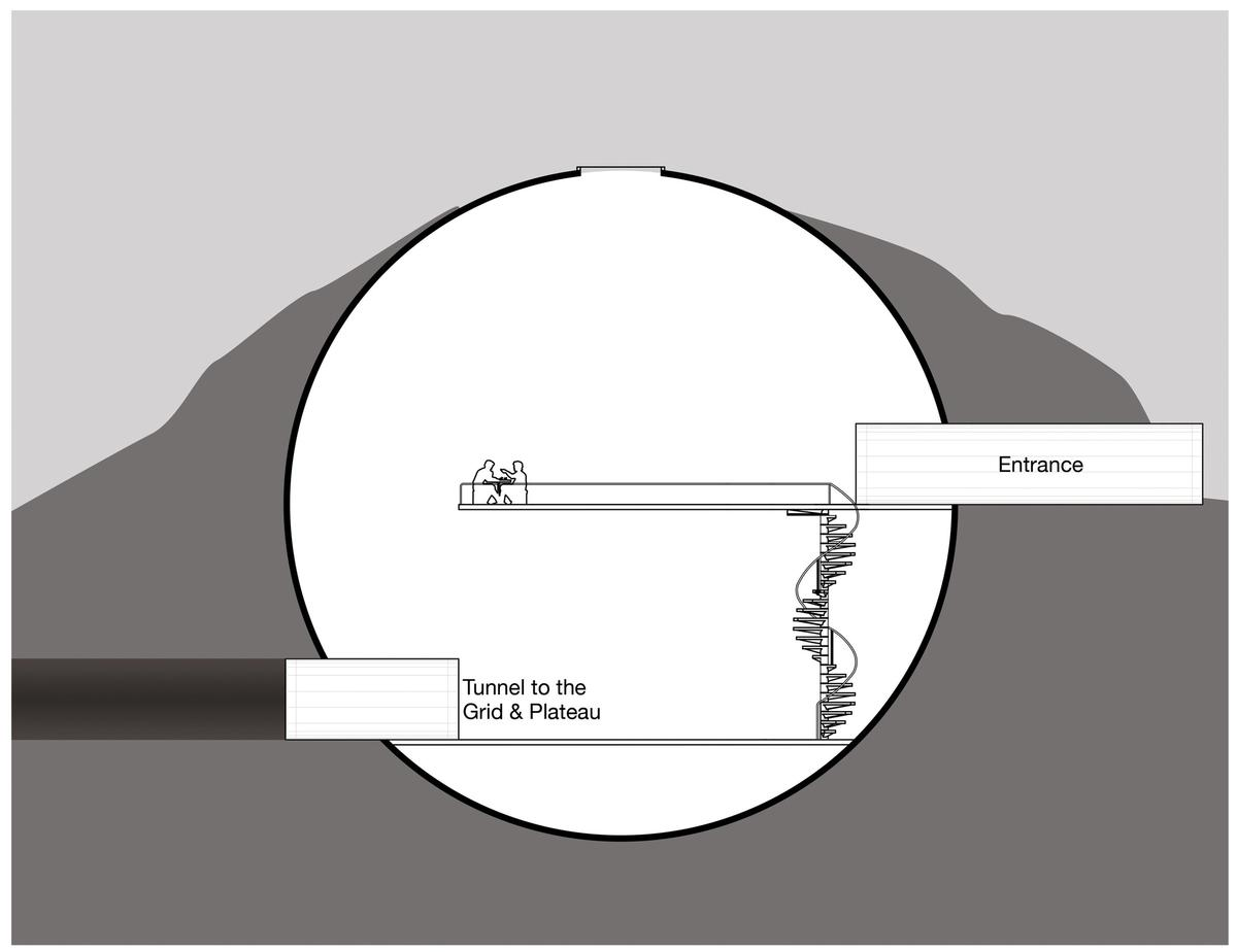 An outer building would be partially underground inside an artificial mountain / MoCAM