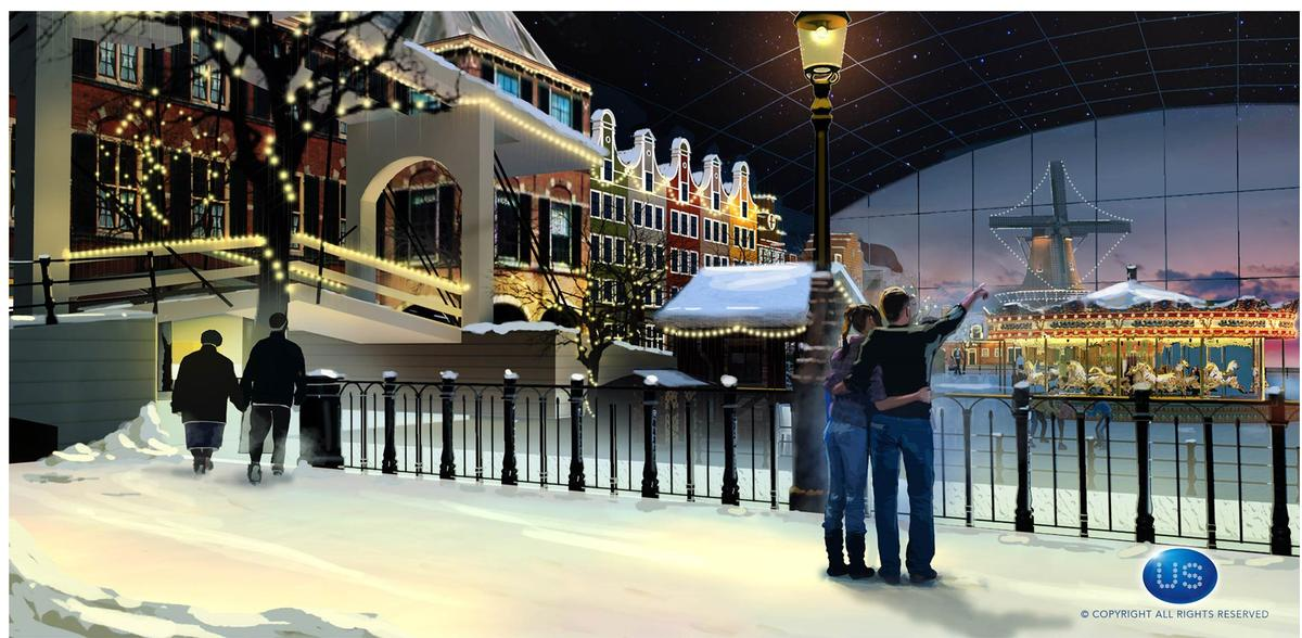 Concept ideas for a winter zone at HollandWorld, a proposed integrated destination and cultural theme park near Amsterdam, the Netherlands / Unlimited Snow