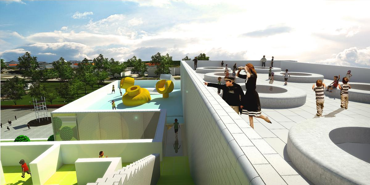 A rooftop space will allow the public to look over the city / The LEGO Group