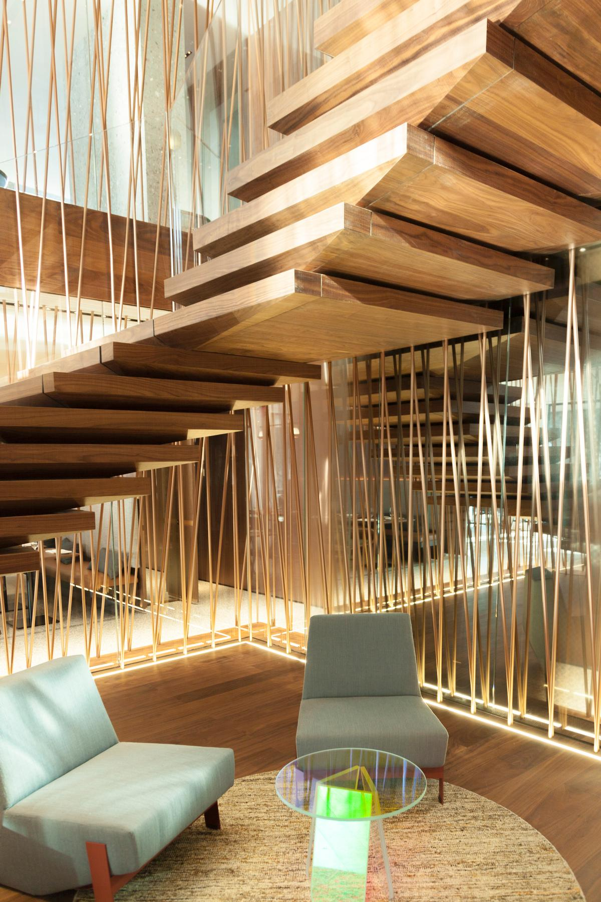 A huge 'floating' staircase is the centrepiece of the hotel / Patricia Parinejad