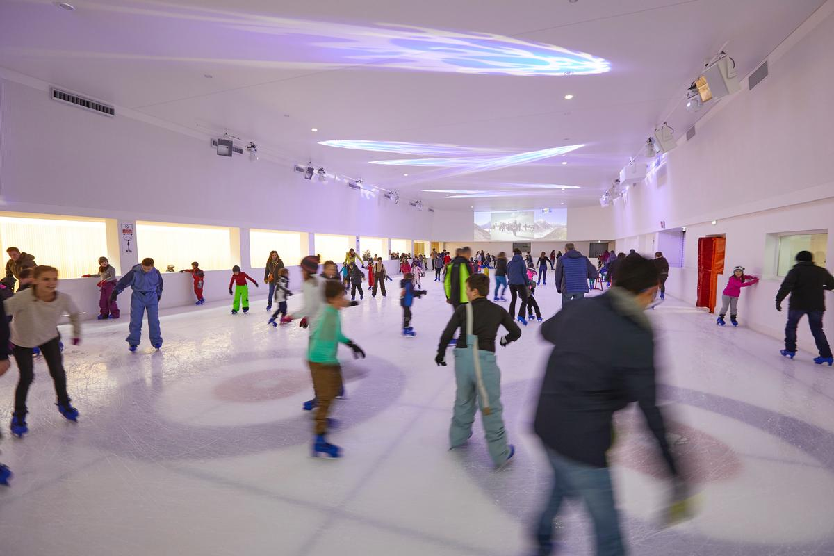 The 500sq m skating rink features scenography recreating a sea ice landscape / Espace des Mondes Polaires