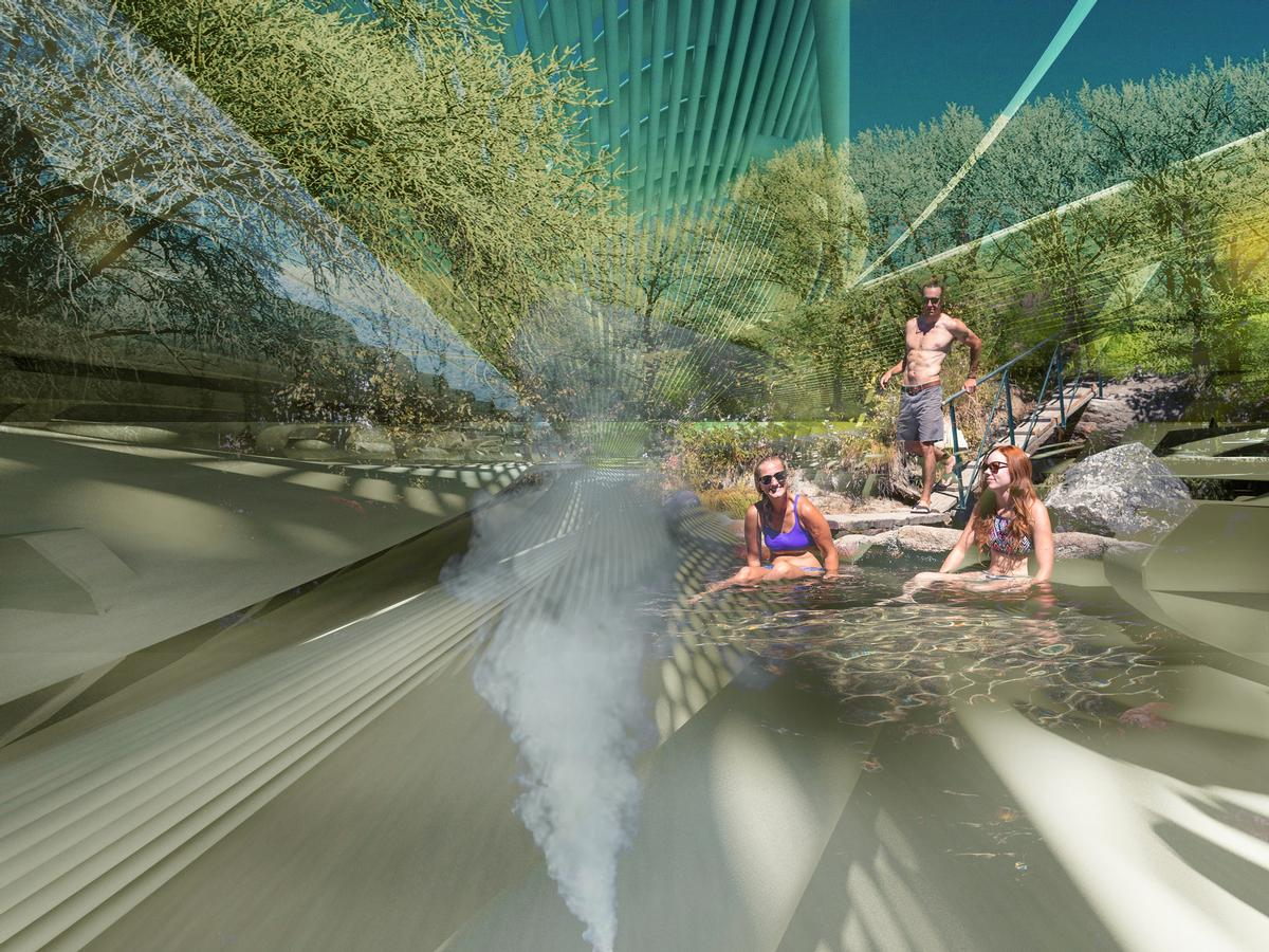 The nearby hot springs will create geothermal energy, and form part of the venue's spa facility / Margot Krasojevi?/V2com