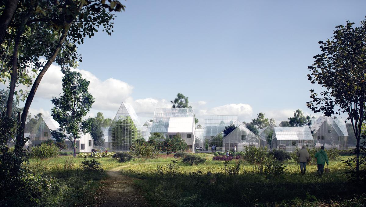 Located in Almere, the pilot development includes 300 homes that will grow their own food and generate their own power on-site / EFFEKT Architects