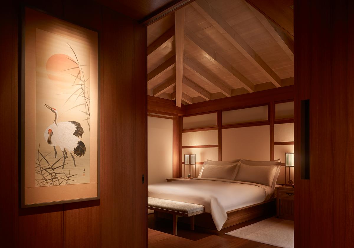 The designers channelled the minimalist aesthetic of traditional Japanese inns by using rich natural material palettes of teak, bronze and limestone / Barbara Kent