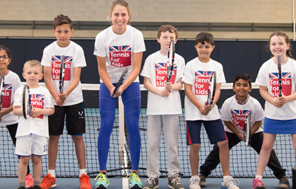Konta (centre) said the programme was 'great' for getting children active