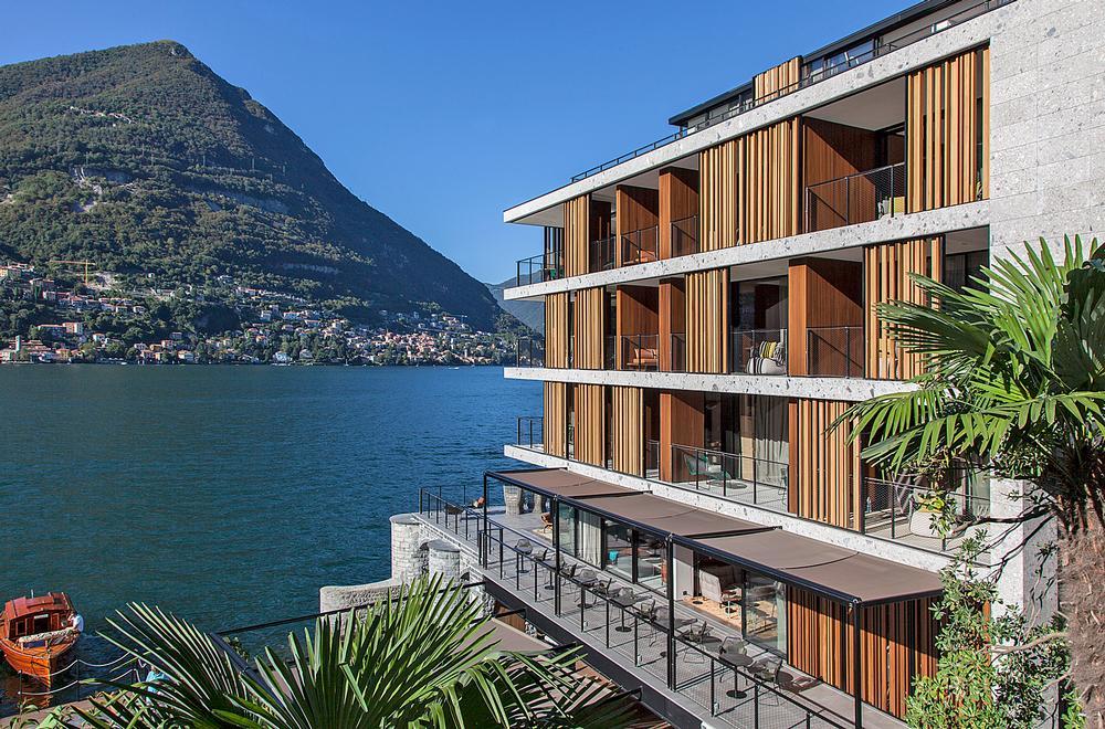 The hotel's linear, boxy form was inspired by Giuseppe Terragni's Casa del Fascio in Como