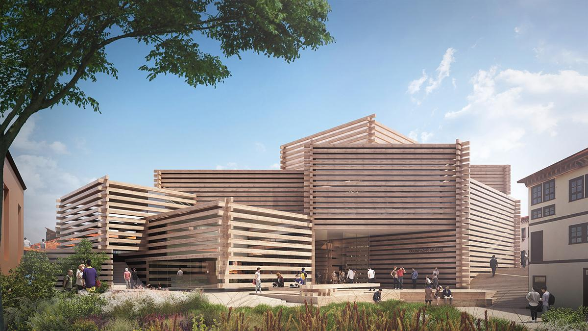 A series of overlapping stacked wooden volumes will form the 3,582sq m (38,500sq ft) museum building / Kengo Kuma and Associates