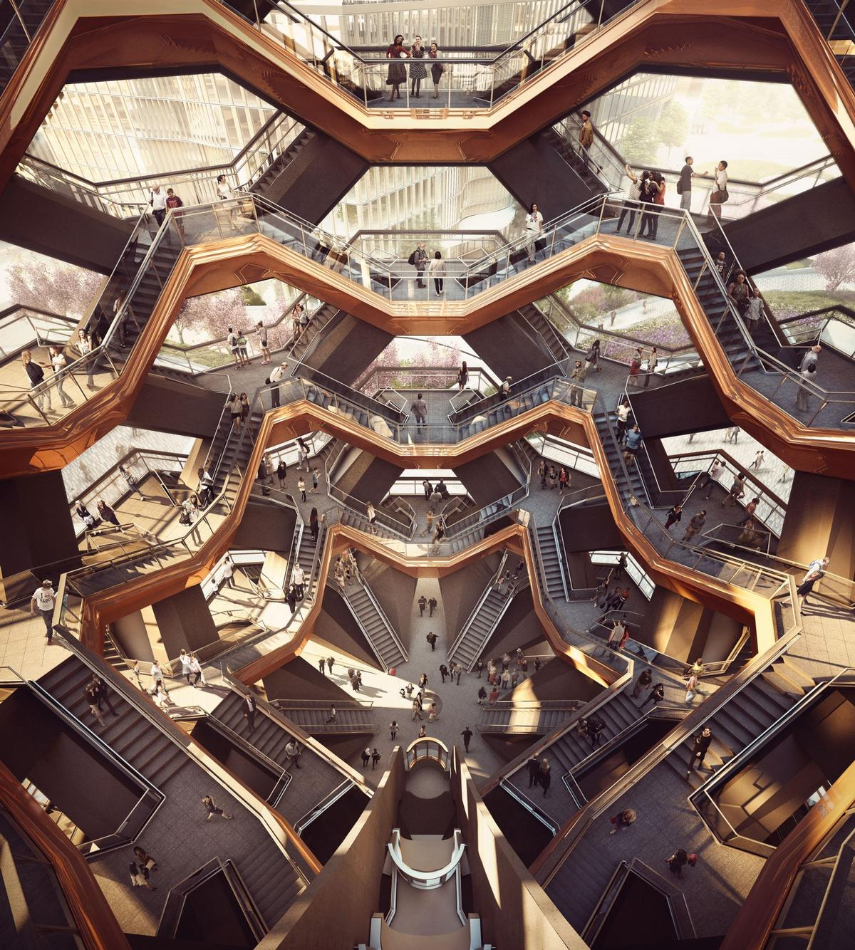 Vessel will be a honeycomb-like structure of 154 interconnecting flights of stairs, 2,400 steps and 80 landings / Forbes Massie
