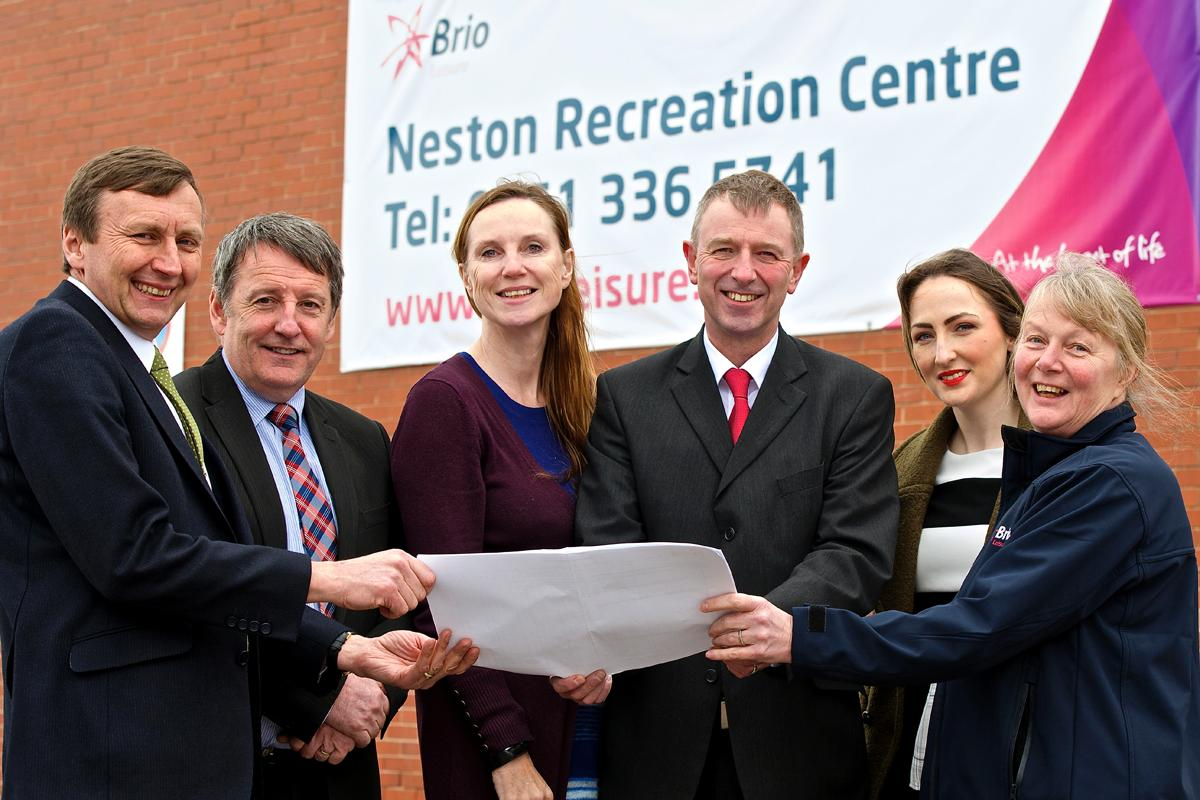 (L-R): Steven Doole and Colin Randerson from Neston High School, Elly McFahn and Anthony Anna-kin-Smith of Brio Leisure, Sarah Dobbins from the council and Lesley Finnigan, Neston Recreation Centre manager.