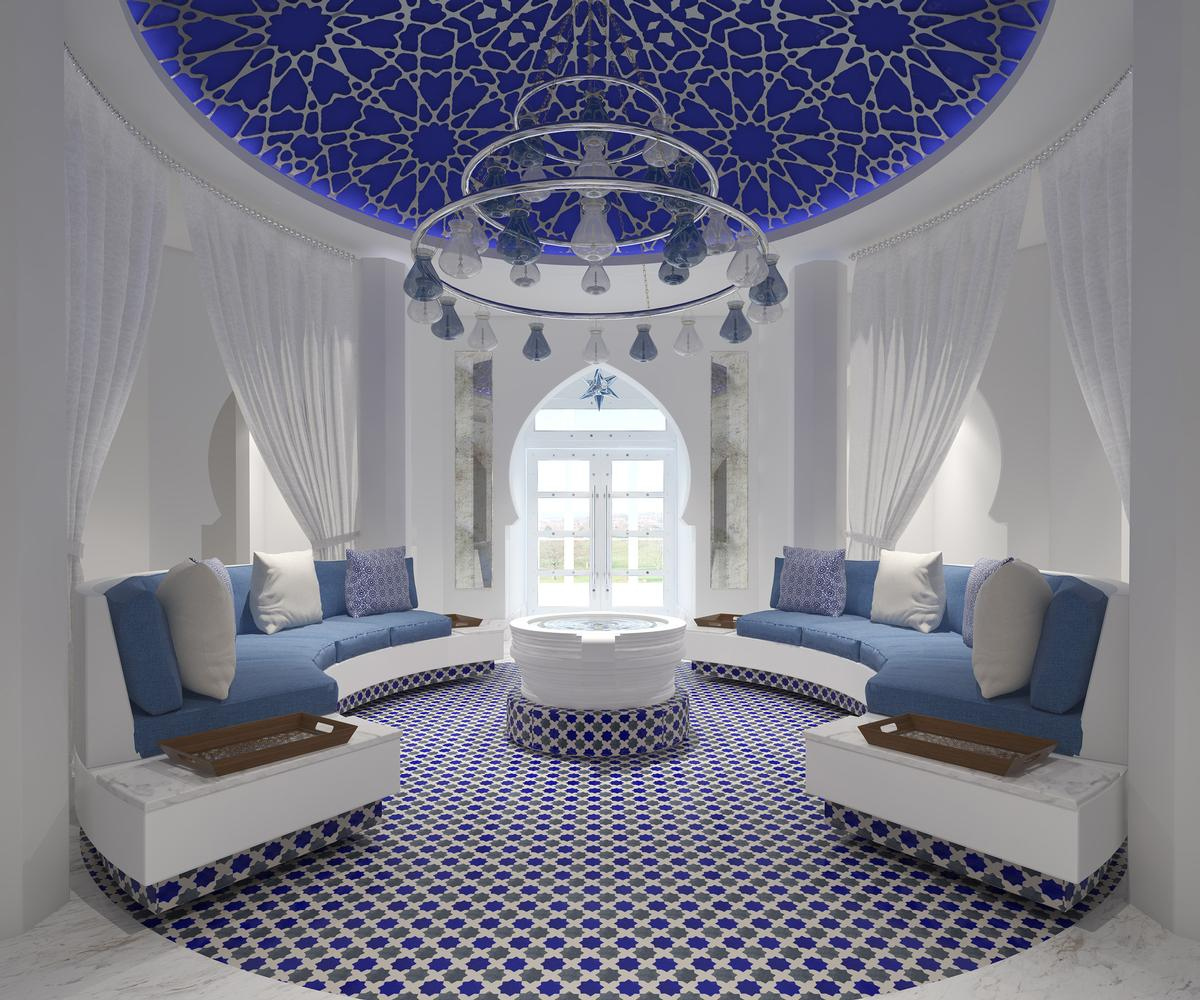 McDonald describes the blue-and-white spa as 'Moorish and edgy in its design'