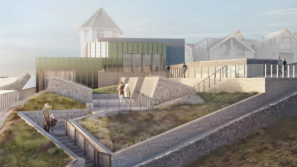 A public garden on the roof will be connected to the cliff above and the beach below / Jamie Fobert Architects