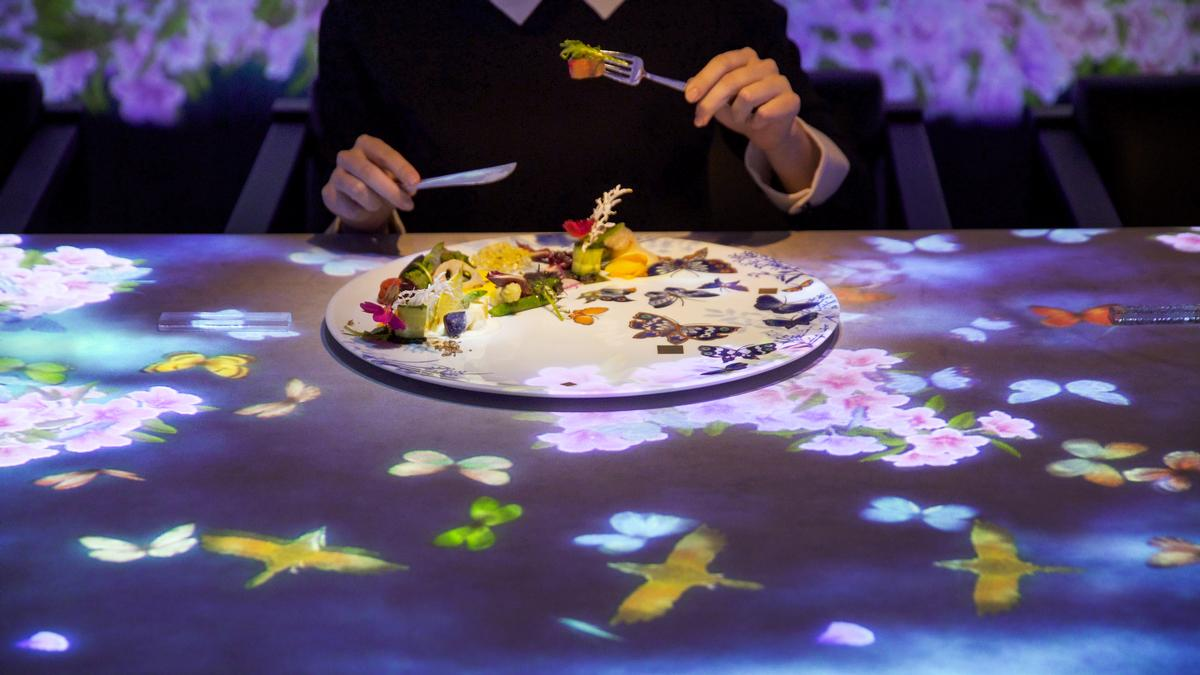 When a plate is placed on the table, the scenic world contained within the dish is unleashed in the form of an intricate light display / teamLab