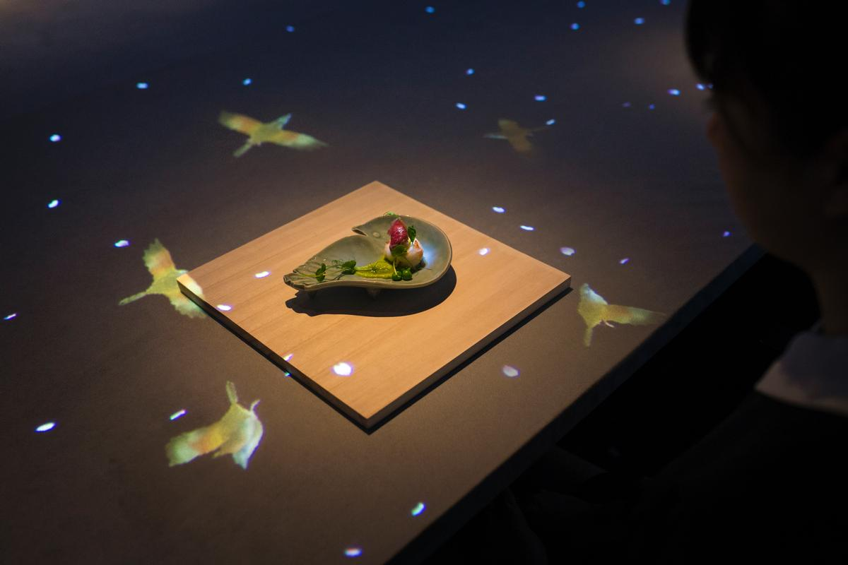 A bird painted on a ceramic dish is seemingly released and flies to perch on the branch of a tree / teamLab