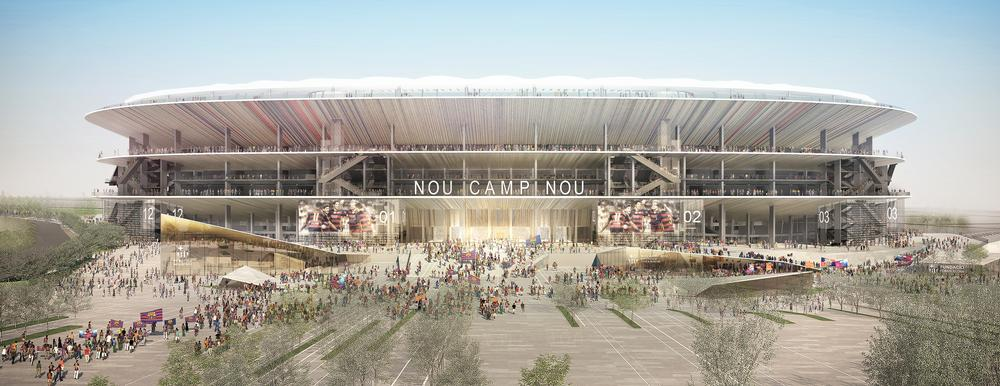 The design features three  open concourses surrounding the stadium, which has a semi transparent roof / Photos and images provided by FC Barcelona