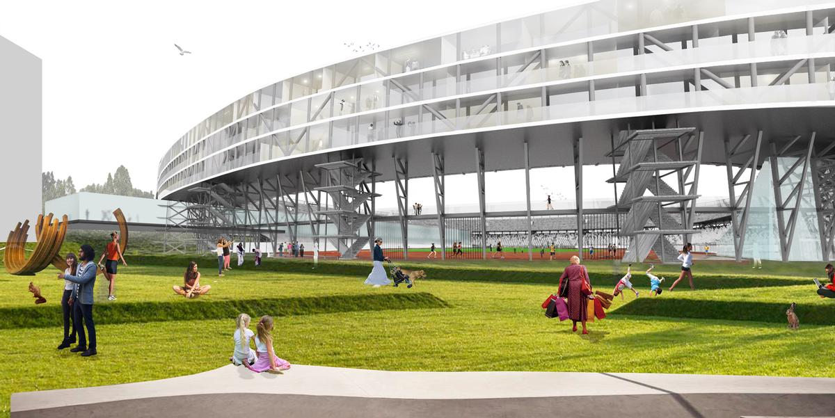 At the core of the masterplan is The Strip, an elevated boulevard connecting the new ground to the club's old stadium / OMA
