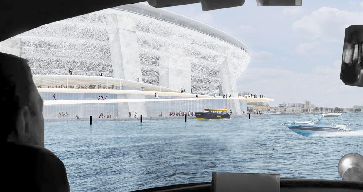 The stadium can be accessed from the River Maas / OMA