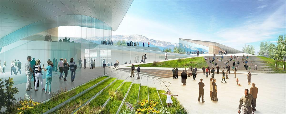 According to DS+R partner Elizabeth Diller, the form of the building is inspired by the movement of athletes, with the structure framing a new downtown public plaza / US Olympic Museum