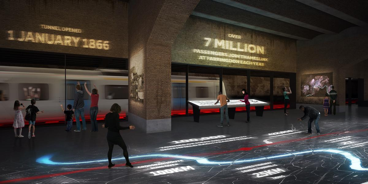Everyday commuters could become exhibits if the Museum of London makes a train tunnel that runs through the new site see-through / Museum of London