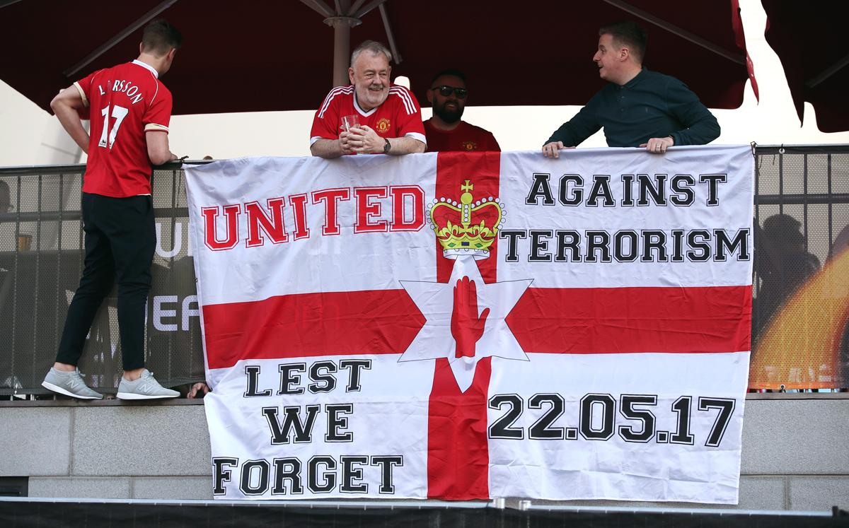 Manchester United fans recognise the victims of the attack ahead of the team's Europa League final match against Ajax / Nick Potts/PA Wire/PA Images