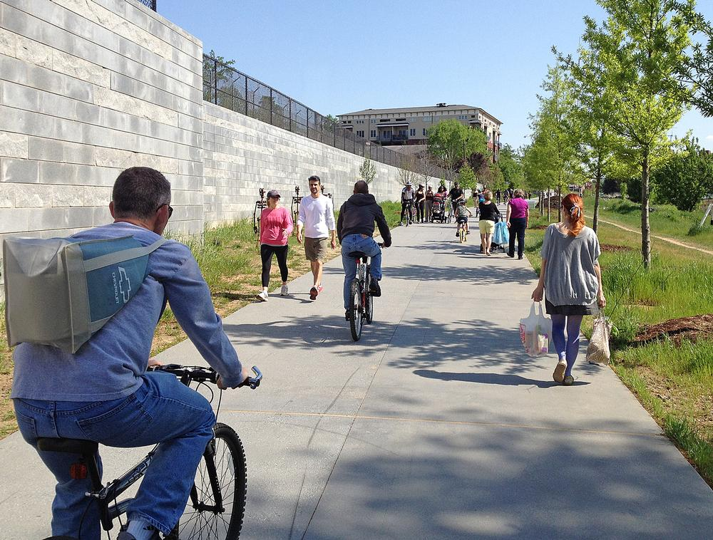 The Atlanta BeltLine provides a network of public parks and trails along a railway corridor