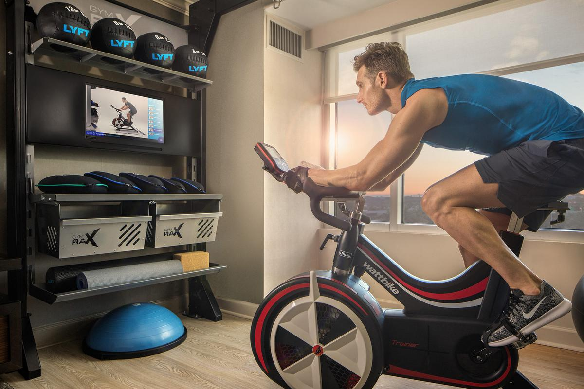 The new room type features an indoor bike from British cycling innovator Wattbike and dynamic Gym Rax functional training station