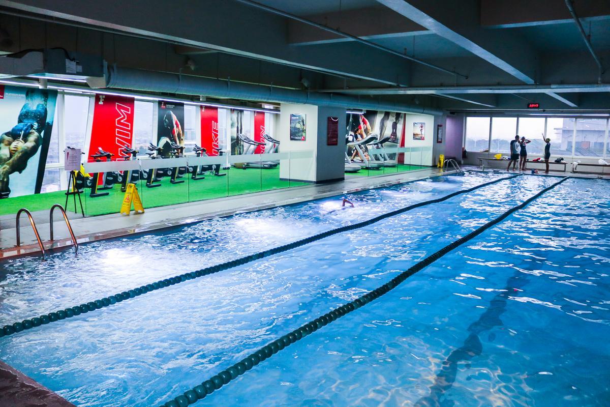 The multi sports zone offers swimming, biking and running