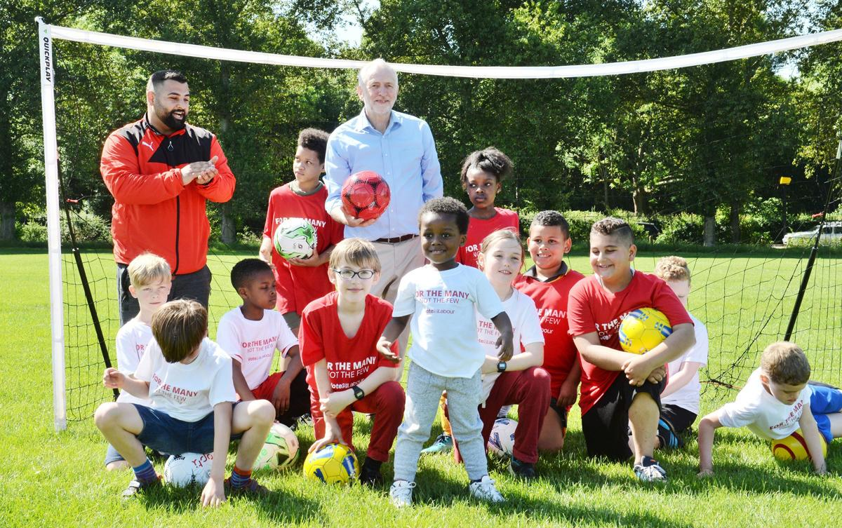 Labour leader Jeremy Corbyn reveals the party's policy to move money from the Premier League to grassroots sport / John Stillwell/PA Wire/PA Images