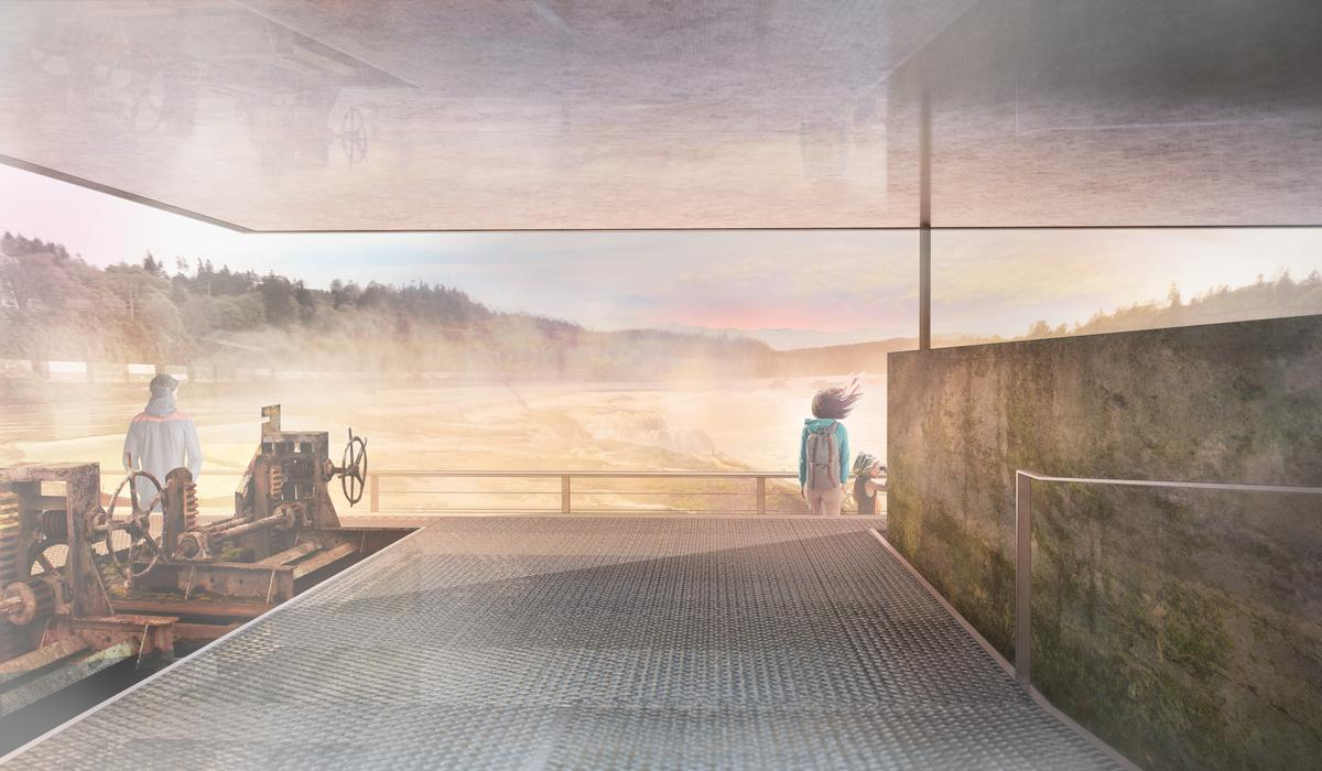 The riverwalk will begin at the entrance to Oregon City's historic downtown and end at the crest of the falls / Snøhetta