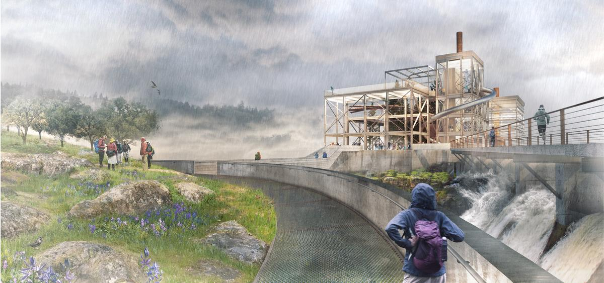The infrastructure will be opened up and integrated into the new riverwalk / Snøhetta
