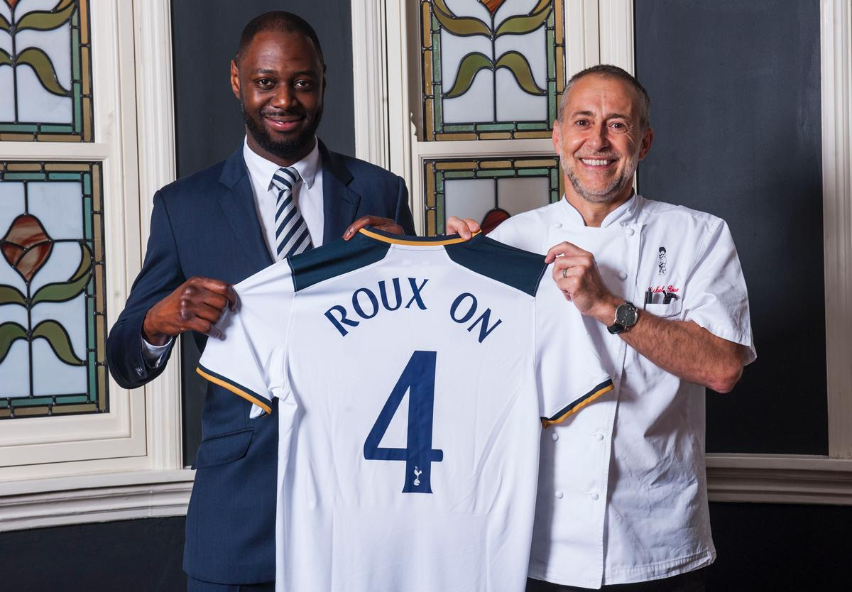 Former Tottenham player Ledley King and Michel Roux Jr celebrate the new partership / Tottenham Hotspur