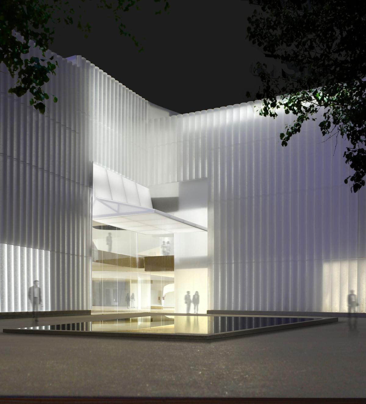 The building will be clad in a translucent-glass exterior, which will glow when lit from within at night / Steven Holl Architects