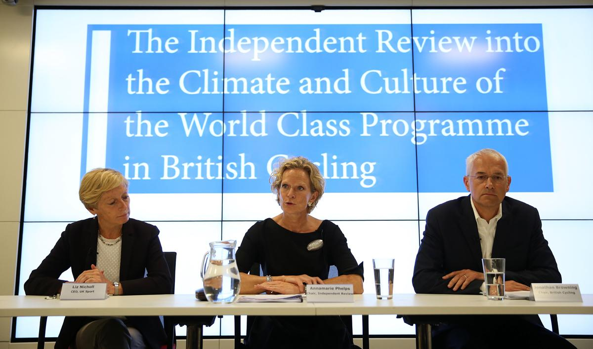 UK Sport chief executive Liz Nicholl (left), independent review chair Annamarie Phelps (centre) and British Cycling chair Jonathan Browning (right) / Steven Paston/PA Wire/PA Images