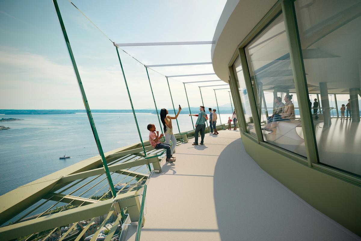 The renovations of the Observation Deck include new glass structural barriers that will replace the wire safety 'caging' on the outer open-air Observation Deck / Olson Kundig
