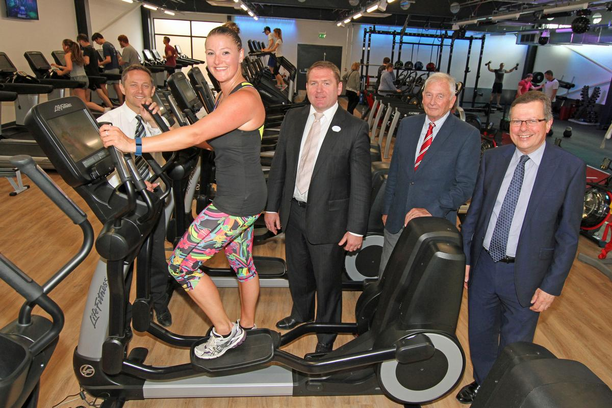Katie Wallbanks with, (Left to right) John Davies, leisure centre manager, Mike Lyons, director of sport and leisure at BH Live, Cllr Pat Oakley, cabinet member for tourism, and Cllr John Beesley, leader of Bournemouth Council