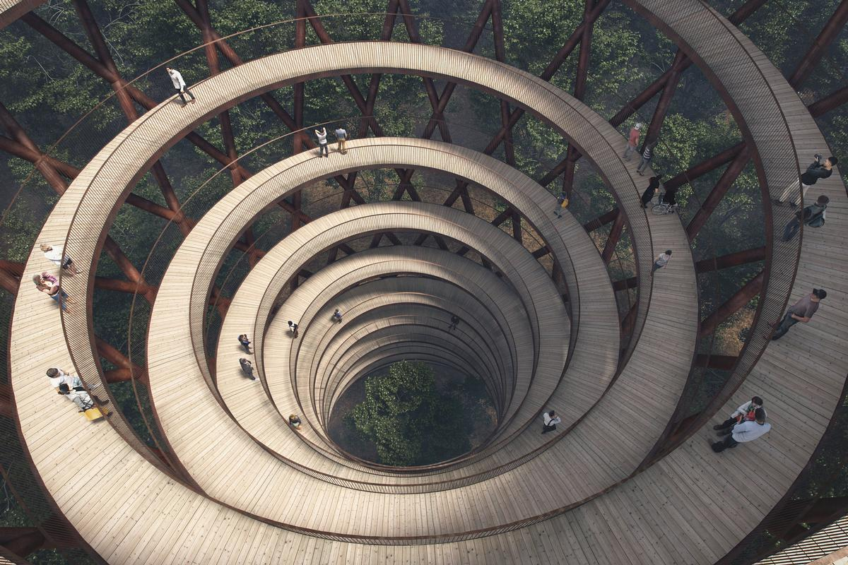 The spiralling tower will climb 45m tall (147.6ft) tall / EFFEKT