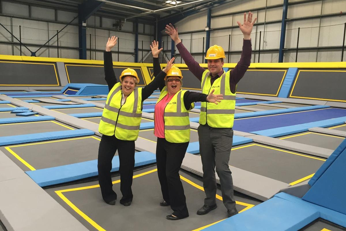 (L-R): Gill Twell, head of development and Quest operations, Sue Popham, head of trampoline parks and Andy Whilde, health and safety and quality manager; all of Rights Directions.