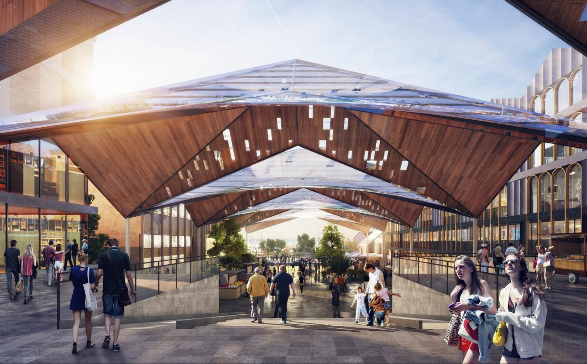The proposal for the £75m scheme includes zones for entertainment, retail and water sports, and a health and wellbeing centre / FaulknerBrowns