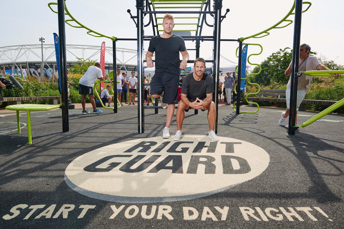 Freddie Flintoff and Jamie Redknapp on location at the Right Guard Aerocycle Gym at Queen Elizabeth Olympic Park / Phil Bourne