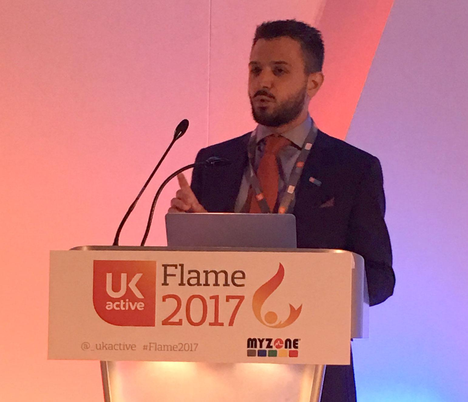 ukactive chief executive Steven Ward opens the 2017 Flame Conference